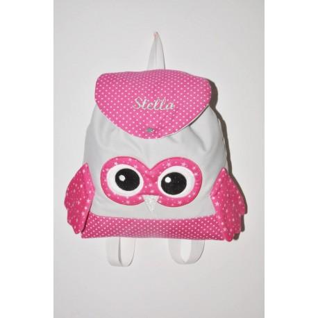 Sac a dos chouette rose/gris enfant personnalisé brodé pour crèche maternelle balade école sport danse maternelle