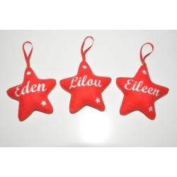 noël décoration boule de noël: 3 étoiles  personnalisée brodée à suspendre pour enfant,famille,sapin,décoration de table