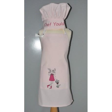 Ensemble Tablier de cuisine petite fille brodée avec toque enfant  personnalisé brodé rose
