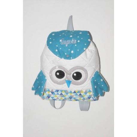Sac a dos chouette bleu étoile/triangle enfant personnalisé brodé pour crèche balade école sport danse maternelle