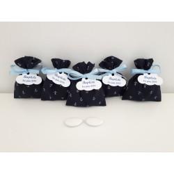 Pochon ballotin pour dragées ancre marine( bleu marine) personnalisé avec étiquette étoile pour baptême, mariage, communion
