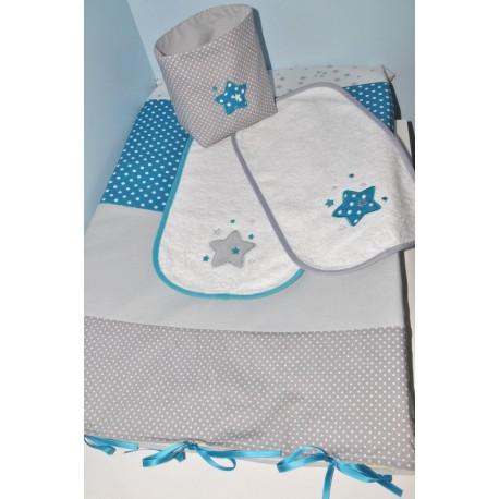 housse matelas à langer personnalisé  avec 1 lange (couleurs au choix) étoiles brodés pour chambre bébé