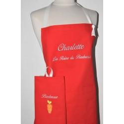 Box cadeau:Tablier de cuisine rouge homme ou femme personnalisé brodé au prénom avec torchon assorti