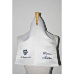 écharpe étole de baptême bébé/enfant chouette personnalisée brodée marine pour garà§on ou fille baptême