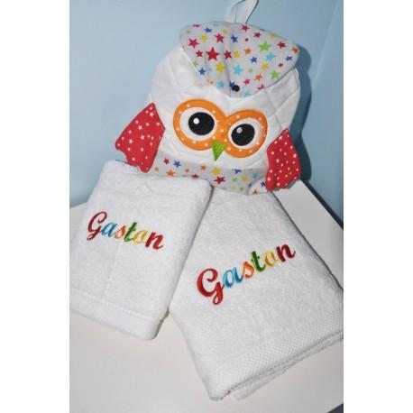 noel Box cadeau: serviette  avec drap de douche avec sac à dos chouette personnalisées brodée pour naissance,anniversaire,noel