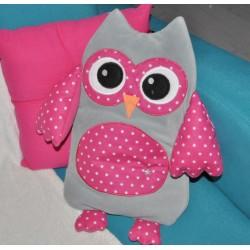 range-pyjama coussin chouette gloutonne rose/gris personnalisé brodé au prénom de l'enfant