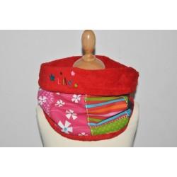 snood écharpe enfant multicolore patchwork personnalisé brodé au prénom avec étoiles