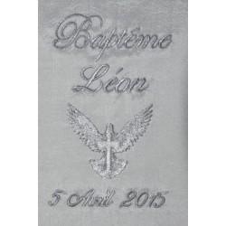 écharpe de baptême bébé/enfant colombe coton ou satin personnalisée brodée garà§on ou fille