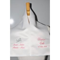 écharpe de baptême bébé ange 2 couleurs 2 cà´tés personnalisée brodée avec parrain marraine pour garà§on ou fille