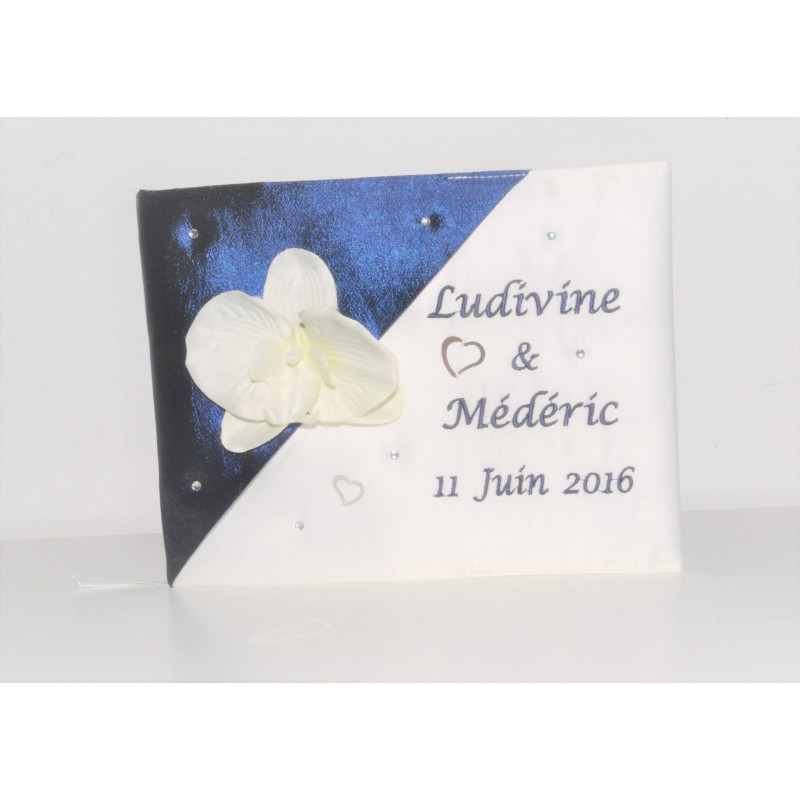 Livre D Or Mariage Strass Orchidee Personnalise Brode Lbm Creation
