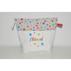 Trousse de toilette enfant ou adulte ou bébé ou ado étoiles multicolore personnalisée brodée