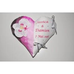 Porte-alliances coussin de mariage coeur personnalisé brodé strass avec orchidée blanche/rose