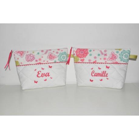 Box cadeau Jumeaux Duo de Trousse de toilette enfant ou bébé ou ado étoiles et papillons personnalisée brodée