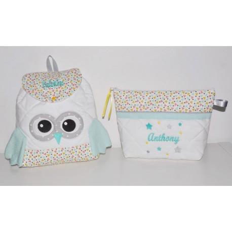 Box cadeau ensemble naissance:Trousse de toilette enfant brodés personnalisée avec sac à dos chouette