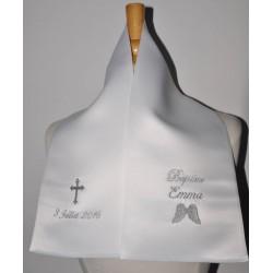 écharpe de baptême aile d'ange avec croix personnalisée brodée pour garà§on ou fille