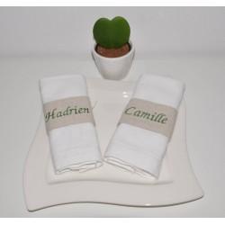 réception noël mariage baptême decoration de table 10 ronds de serviette, marque-place personnalisés brodés
