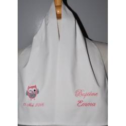 écharpe étole de baptême bébé/enfant chouette personnalisée brodée rose pour garà§on ou fille baptême