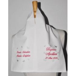écharpe de baptême bébé papillon 2 cà´tés personnalisée brodée avec parrain marraine pour garà§on ou fille