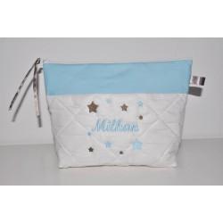 Trousse de toilette enfant ou adulte ou bébé ou ado étoiles bleu ciel/taupe personnalisée brodée