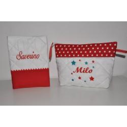 Box cadeau naissance: protège-carnet de santé avec trousse de toilette étoiles turquoise/gris personnalisé brodé au nom