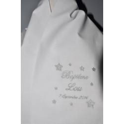 Sur commande:écharpe de baptême bébé étoiles personnalisée brodée argenté garà§on ou fille