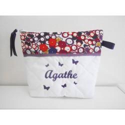 Trousse de toilette prune/violet papillons brodés personnalisée brodée