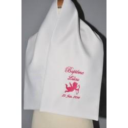 écharpe de baptême bébé ange personnalisée brodée argenté
