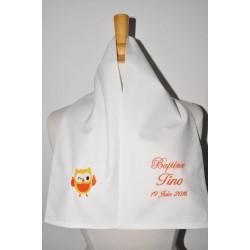 écharpe étole de baptême bébé/enfant chouette personnalisée brodée pour garà§on ou fille baptême