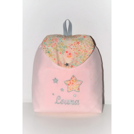Sac à  dos enfant adelajda liberty of London rose/gris personnalisé brodé au prenom