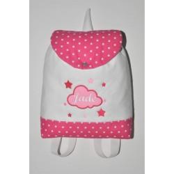 Sac a dos enfant nuage/étoile rose/blanc/fuchsia personnalisé brodé au prenom