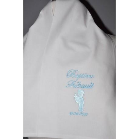écharpe étole de baptême bébé ange garà§on coton ou satin personnalisée brodée grise garà§on ou fille