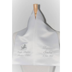 écharpe de baptême bébé ange 2 cà´tés personnalisée brodée avec parrain marraine pour garà§on ou fille