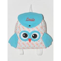 Sac à dos chouette pois turquoise enfant personnalisé brodé pour doudou crèche maternelle balade école sport
