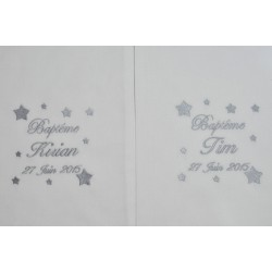 Pour jumeaux:2 écharpes de baptême bébé étoiles personnalisée brodée gris garà§on ou fille