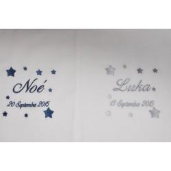 Pour jumeaux ou frère/soeur:2 écharpes de baptême bébé étoiles personnalisée brodée gris garà§on ou fille