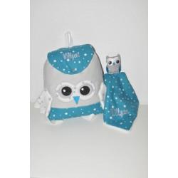 Box cadeau:sac à dos et doudou chouette personnalisées brodés pour naissance,anniversaire,noel