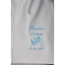 écharpe de baptême bébé ange coton ou satin personnalisée brodée bleu ciel garà§on ou fille