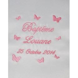 écharpe de baptême bébé papillon personnalisée brodée rose fille ou garà§on