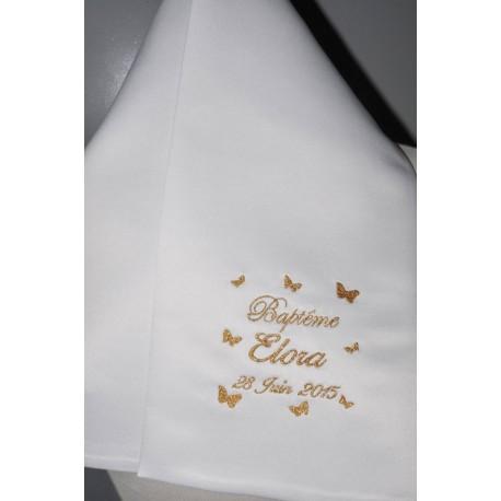écharpe de baptême bébé papillons personnalisée brodée pour fille ou garà§on (ici or)