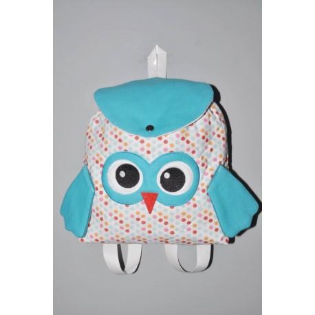 Sac a dos chouette pois turquoise enfant personnalisé brodé pour doudou crèche maternelle balade école sport