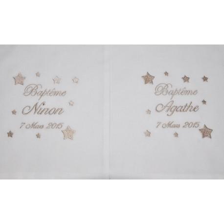 Pour jumeaux:2 écharpes de baptême bébé étoiles personnalisée brodée beige garà§on ou fille