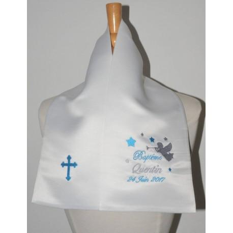 écharpe de baptême bébé ange trompette avec croix 2 couleurspersonnalisée brodée pour garà§on ou fille