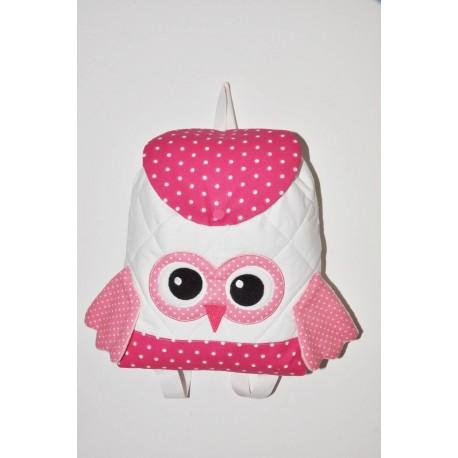 Sac a dos chouette pois rose enfant personnalisé brodé pour doudou crèche maternelle balade école sport