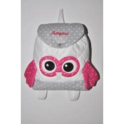 Sac a dos chouette rose enfant personnalisé brodé pour crèche maternelle balade école sport danse maternelle