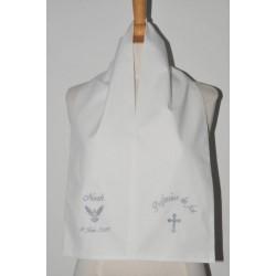 écharpe profession de foi croix avec colombe 2 cà´tés personnalisée brodée pour communion garà§on ou fille
