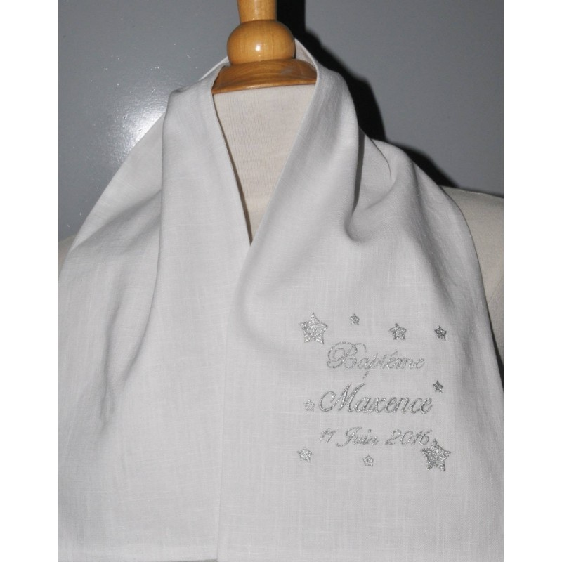 service durable qualité stable info pour écharpe étole de baptême étoile en lin personnalisée brodée pour garà§on ou  fille