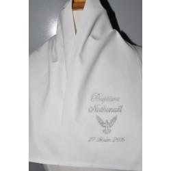 écharpe de baptême bébé/enfant colombe croix argenté coton ou satin personnalisée brodée garà§on ou fille