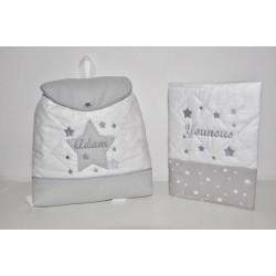 Box cadeau ensemble naissance: Protège carnet de santé étoile avec Sac à dos étoile brodés personnalisés