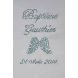 écharpe de baptême bébé aile d'ange personnalisée brodée bleu argenté 1 garà§on ou fille