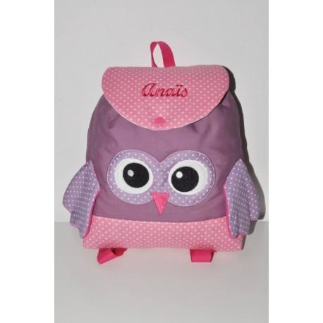 Sac a dos chouette rose/mauve enfant personnalisé brodé pour crèche maternelle balade école sport danse maternelle